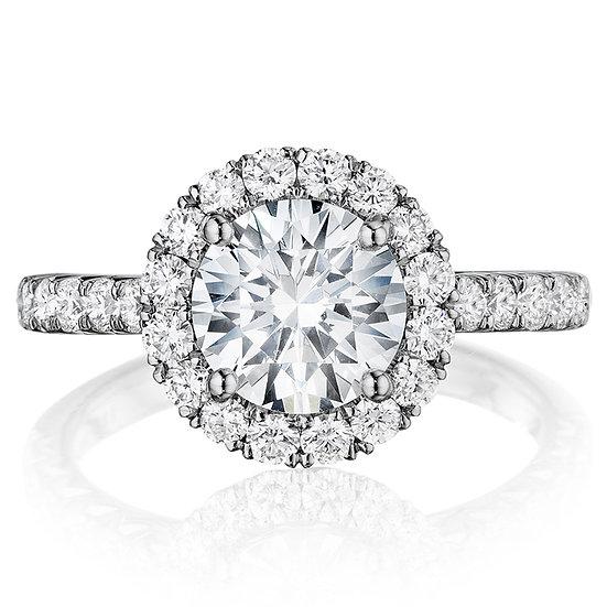 Round halo diamond engagement ring setting
