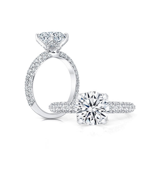 Three sided diamond engagement ring