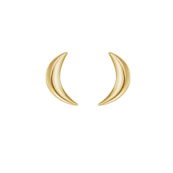 Yellow Gold Moon Earrings