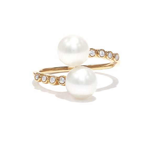 Pearl Diamond Twist Ring