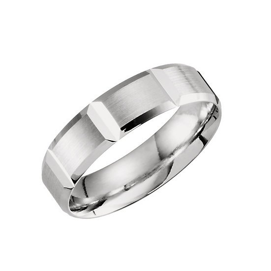 Grooved Mens Wedding Band