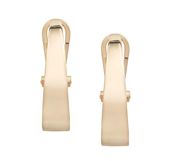 Gold J Huggie Earrings