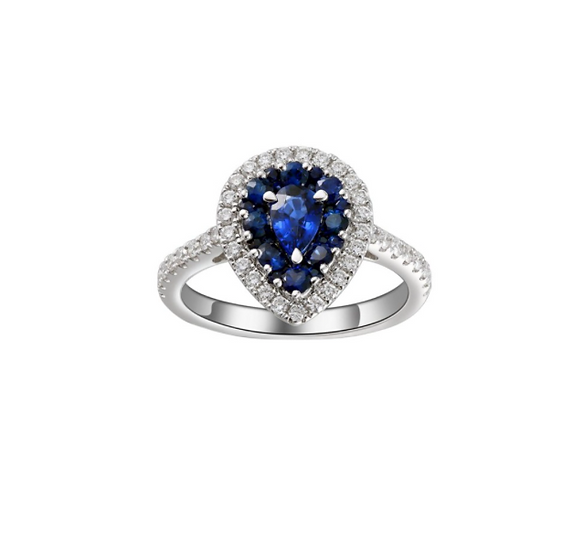 Pear shape sapphire engagement ring