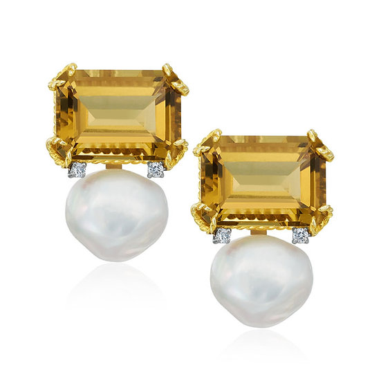 Lemon Citrine Pearl Earrings