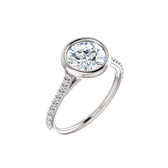 Bezel Diamond Band Engagement Ring Setting