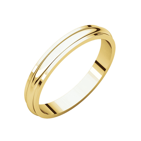Men's 3mm gold edged wedding band