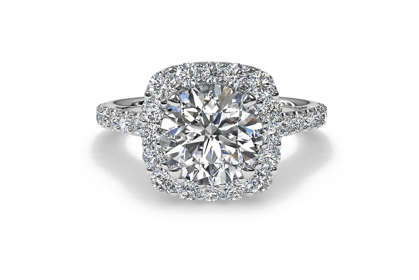 Cushion halo round diamond engagement ring setting