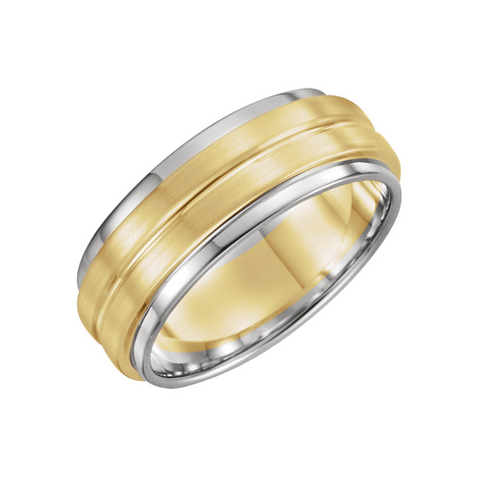 7mm Grooved Two Tone Band