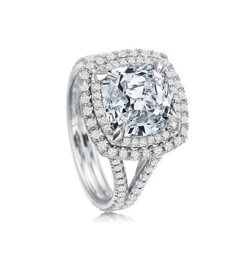 Double Halo Cushion Engagement Ring Setting