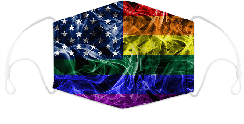 Rainbow Flames American Flag Reusable Cloth Mask with 2 Filters