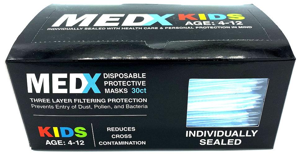 Individually Sealed MEDX 30-Pack Disposable Kids Masks