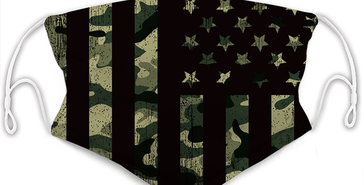 Camouflage American Flag Reusable Cloth Mask with 2 Filters