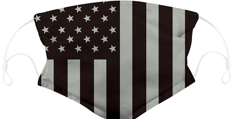 Black and White American Flag Reusable Cloth Mask with 2 Filters