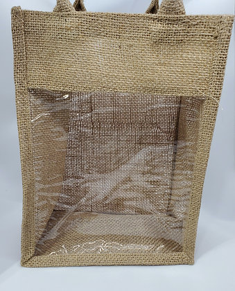 Jute Two Handle  Syrup Bag with Window 7in