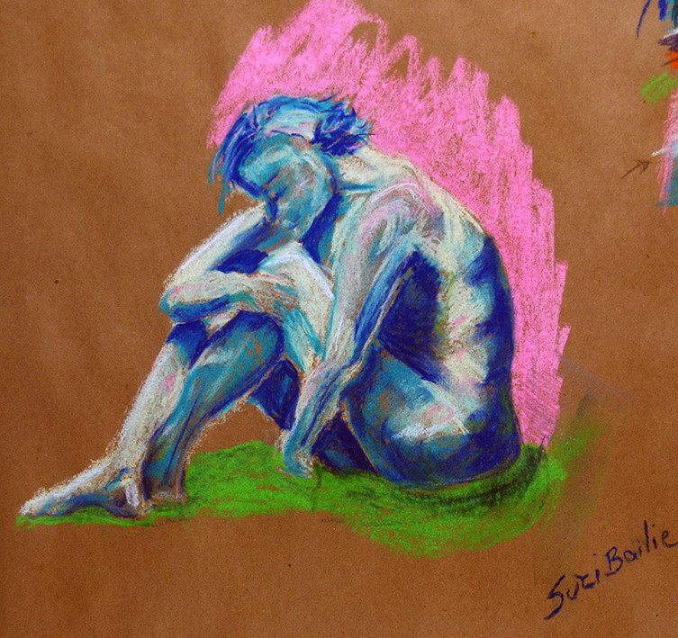 Blue Girl with Pink