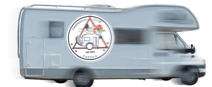 Camper e logo Campeggio Club Padova