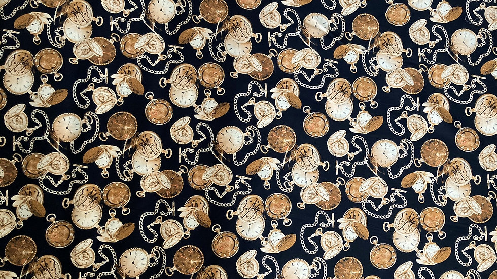 Fabric : Cotton print with pocket watches