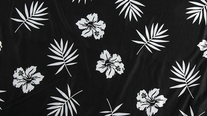 Black and White Floral Stretch Jersey