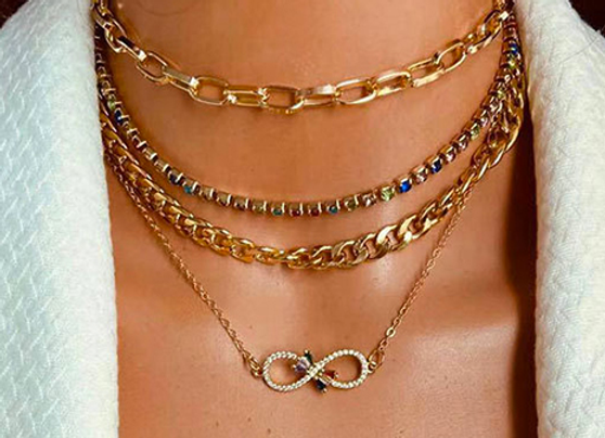 Multi Layre Coloured stone Necklace