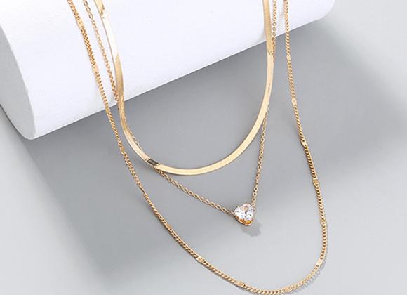 Multi Layre Gold Diamond Necklace