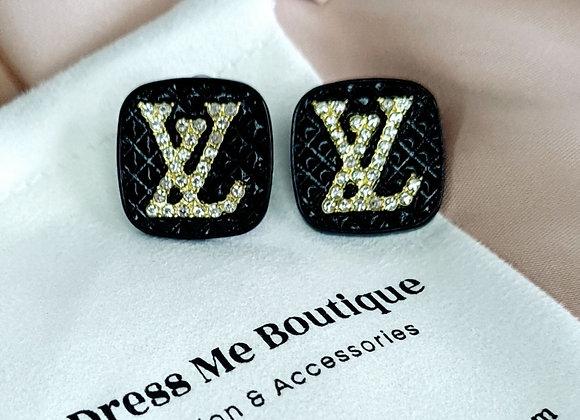 Black Louis V Inspired Earrings