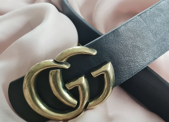 Black/brown reversible Leather Guc Inspired Belt