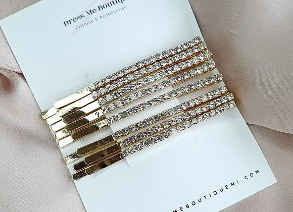 8 Piece Gold Diamond Hair Slides