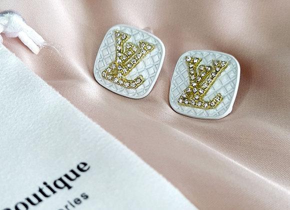 White Louis V Inspired Earrings