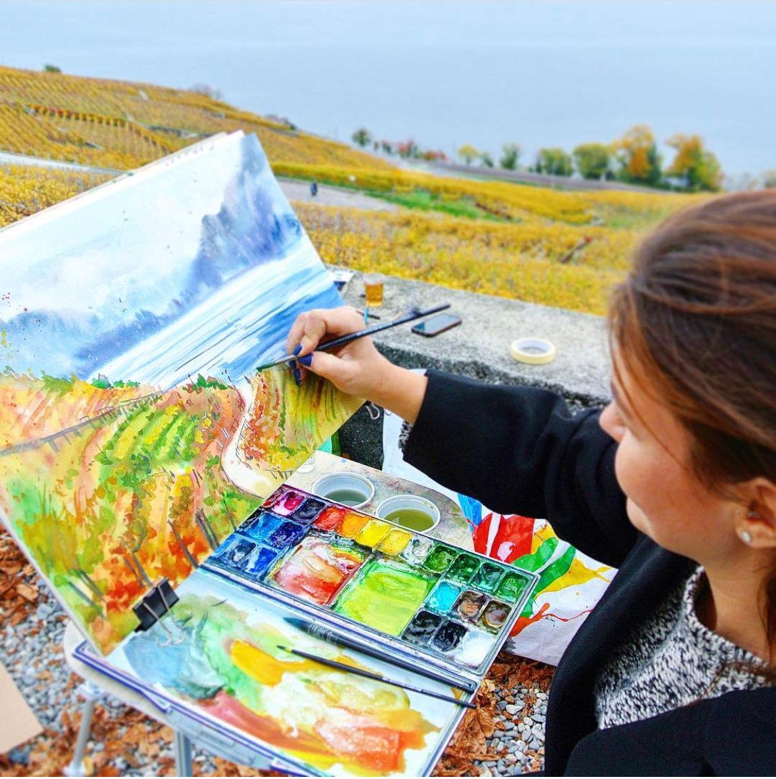 Lavaux à l'aquarelle en plein air