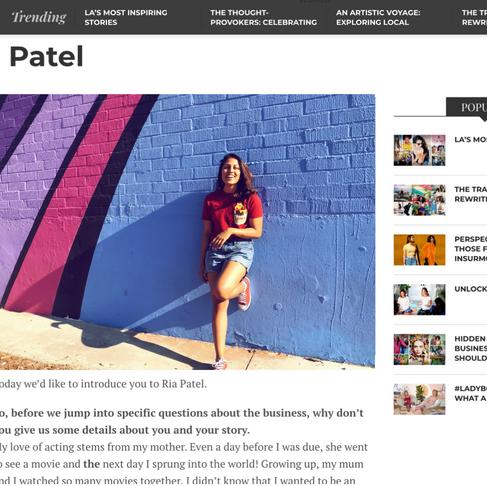 Meet Ria Patel - Voyage LA Magazine