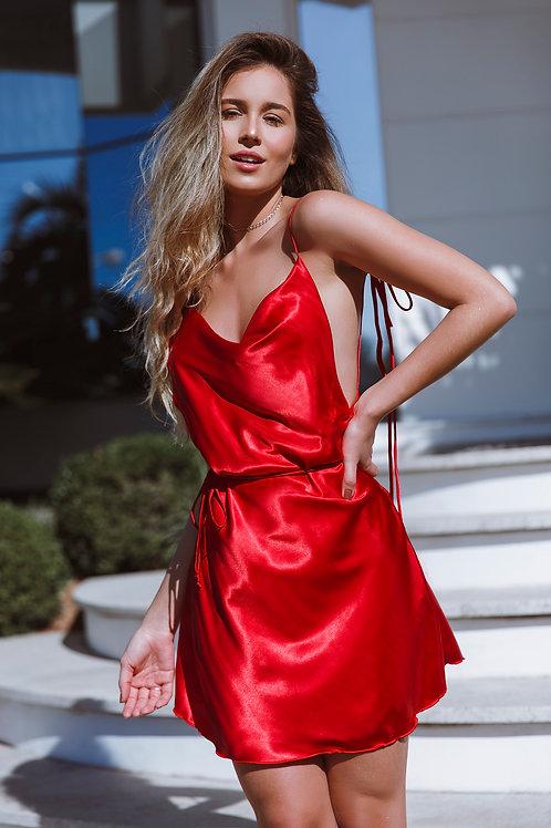 Vestido de Cetim Paris Vermelho