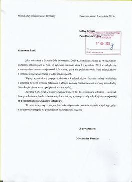 Protest miezkańców Brzezin. Wniosek o zebranie.