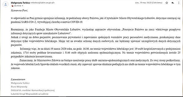 Odpowiedź Rzecznika prasowego Wojewody Lubelskiego