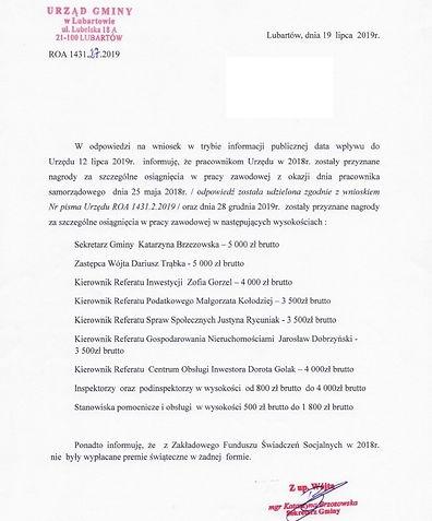 Nagrody dla urzędników Gmina Lubartów