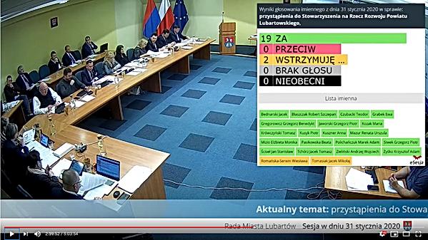 Rada Miasta Lubartów głosowanie Stowarzyszenie na Rzecz Rozwoju Powiatu Lubartowskiego