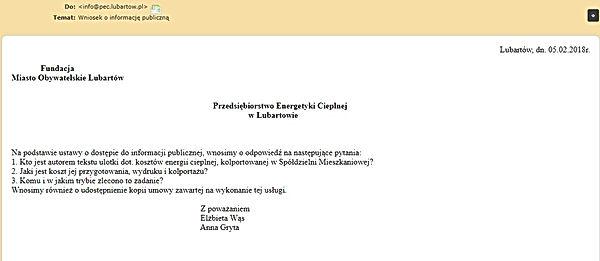 Fundacja Miasto Obywatelskie Lubartów wniosek