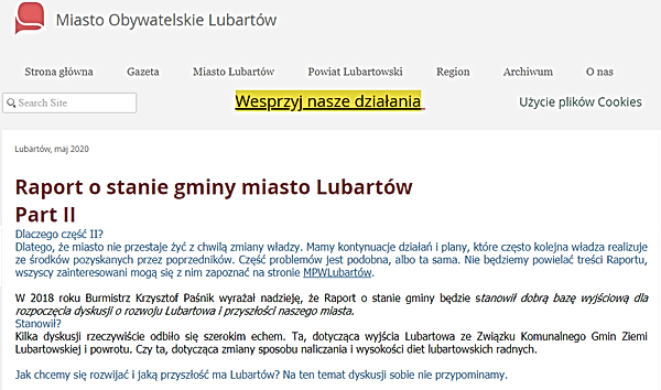 Raport o stanie Gminy Miasto Lubartów