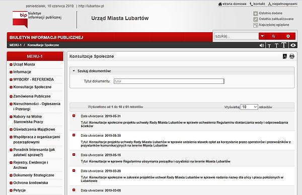Konsultacje w BIP Lubartów