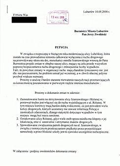 Lustro przejście Szaniawskiego Lubartów oznakowanie Różana