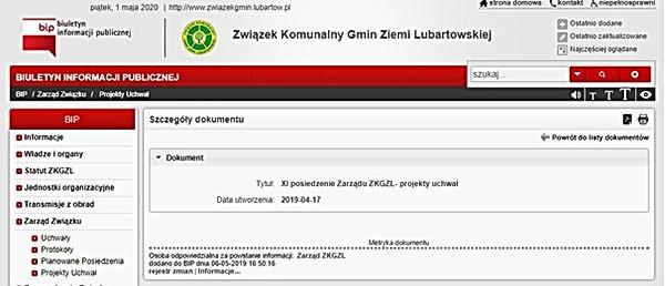 BIP ZKGZL Brak projektów uchwał z kwietnia 2019