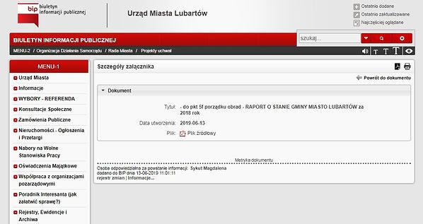Raport o stanie Gminy Miasto Lubartów+
