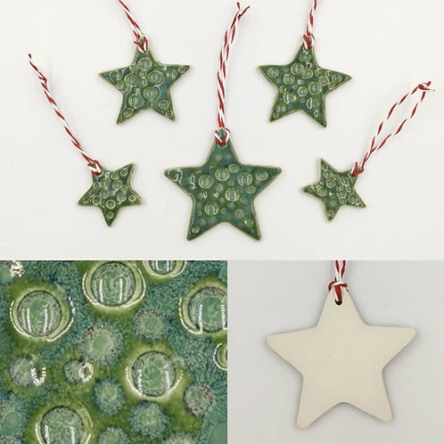 Set of 5 semi porcelain hanging Christmas decorations