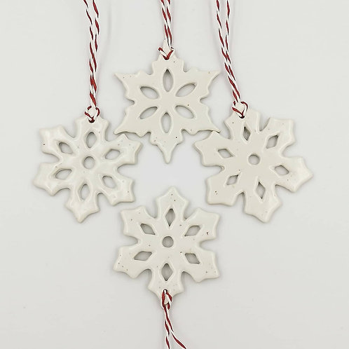Set of 4 semi-porcelain snowflake Hanging Christmas Decorations