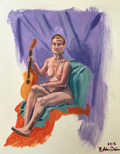 Seated nude with guitar (#2)