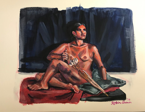 Seated nude with umbrella (#16)