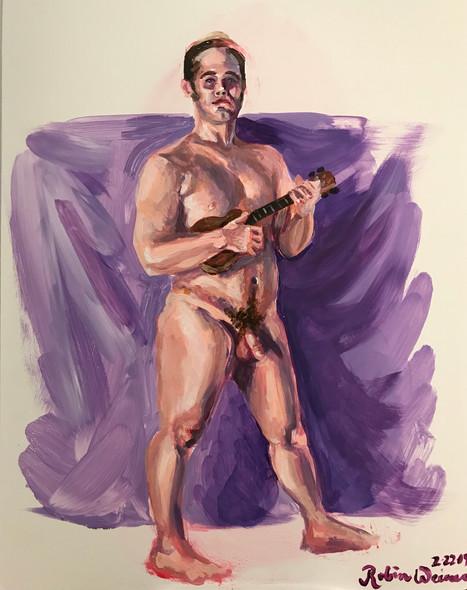 Standing male nude with ukulele (#8)