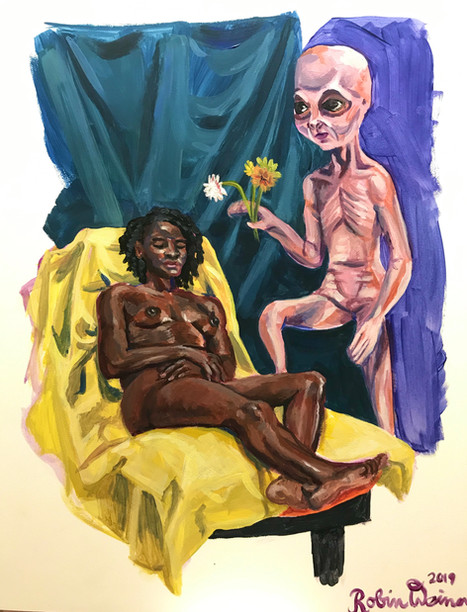 Reclining nude with alien (#17)