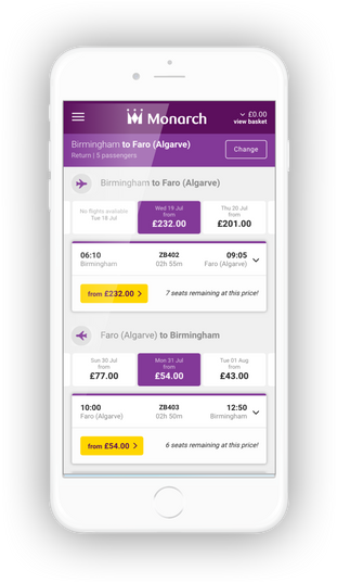 Mobile phone mockup of flight select page