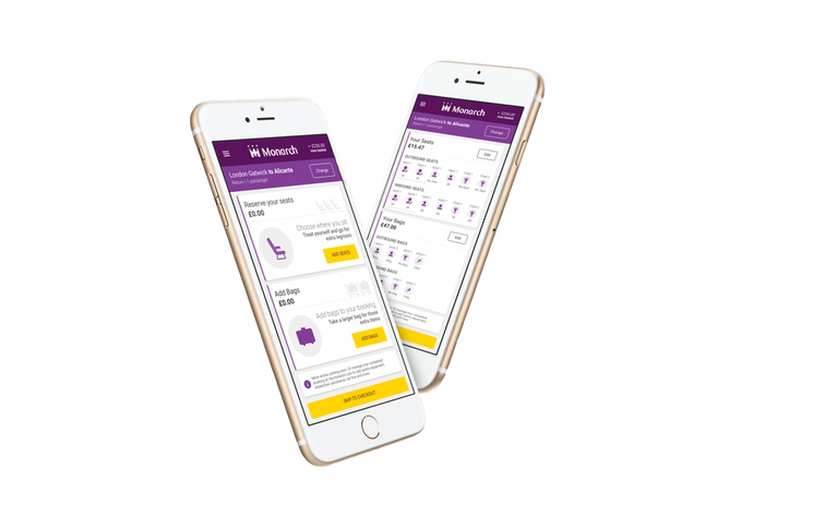 Mobile phone mockups of various pages within the responsive flight booking path project