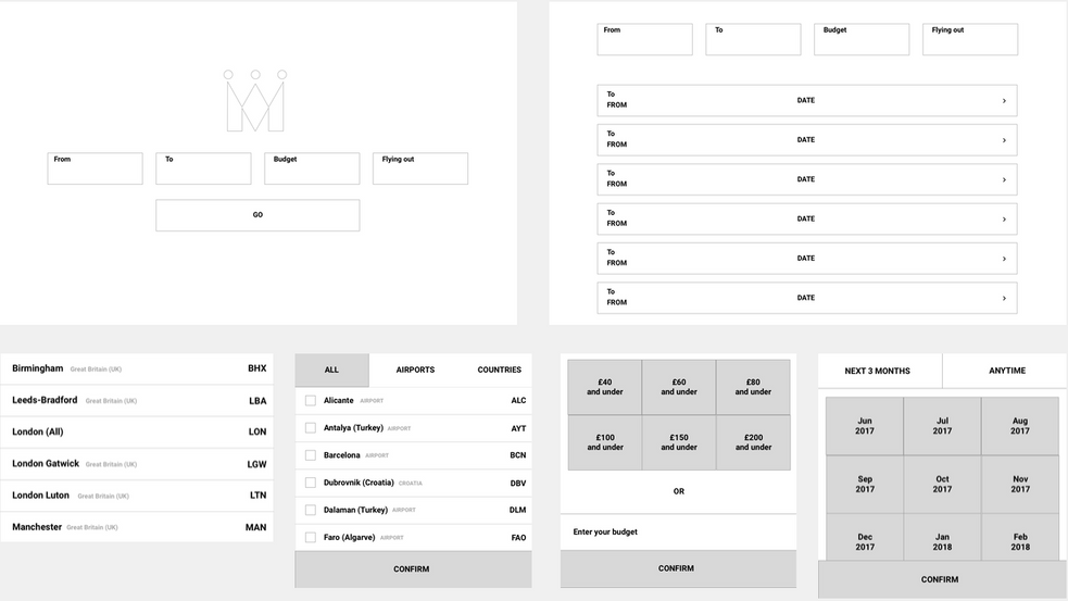 User experience design wireframes of the fare finder
